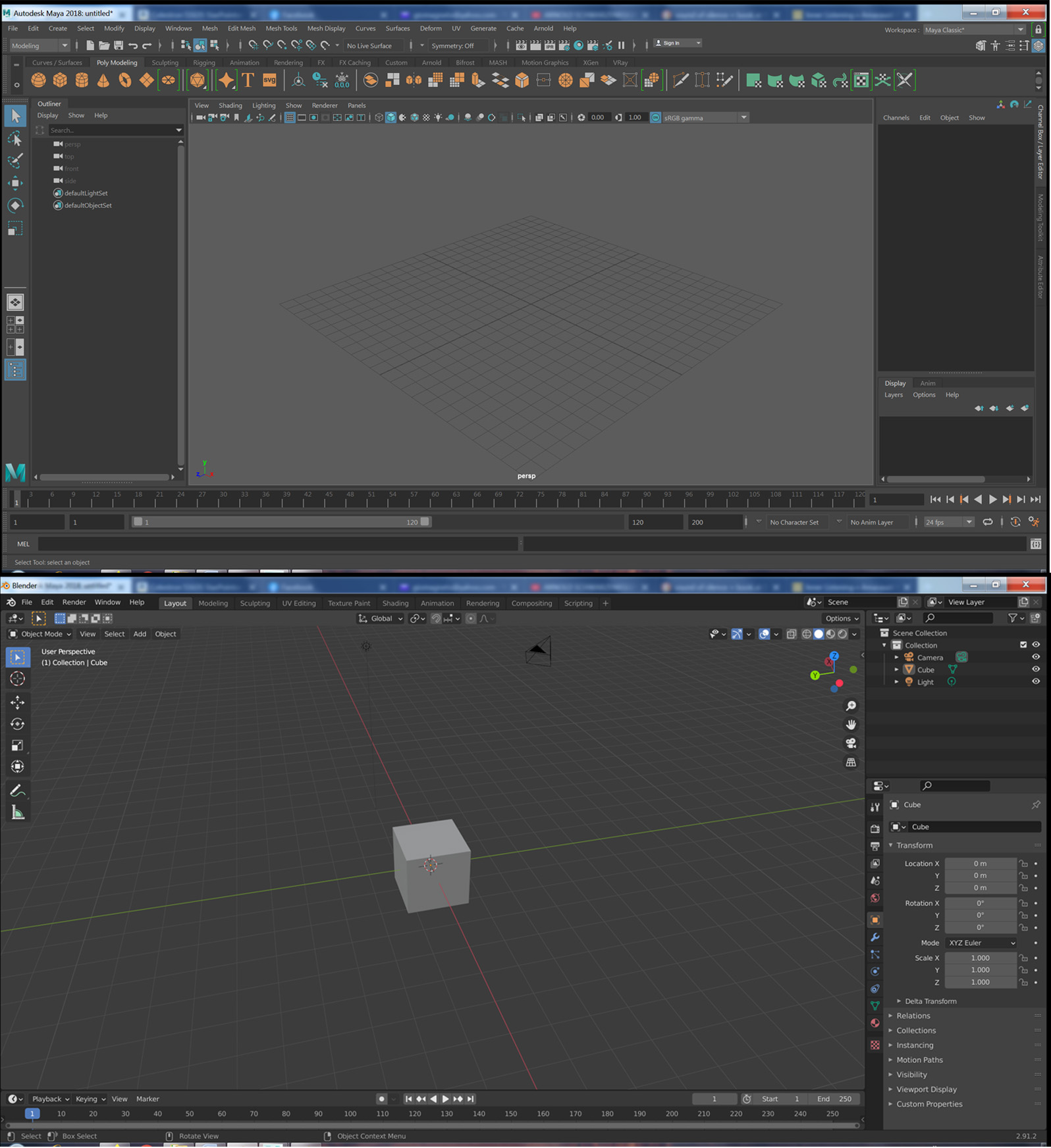 Comparing the Blender and Maya opening screens