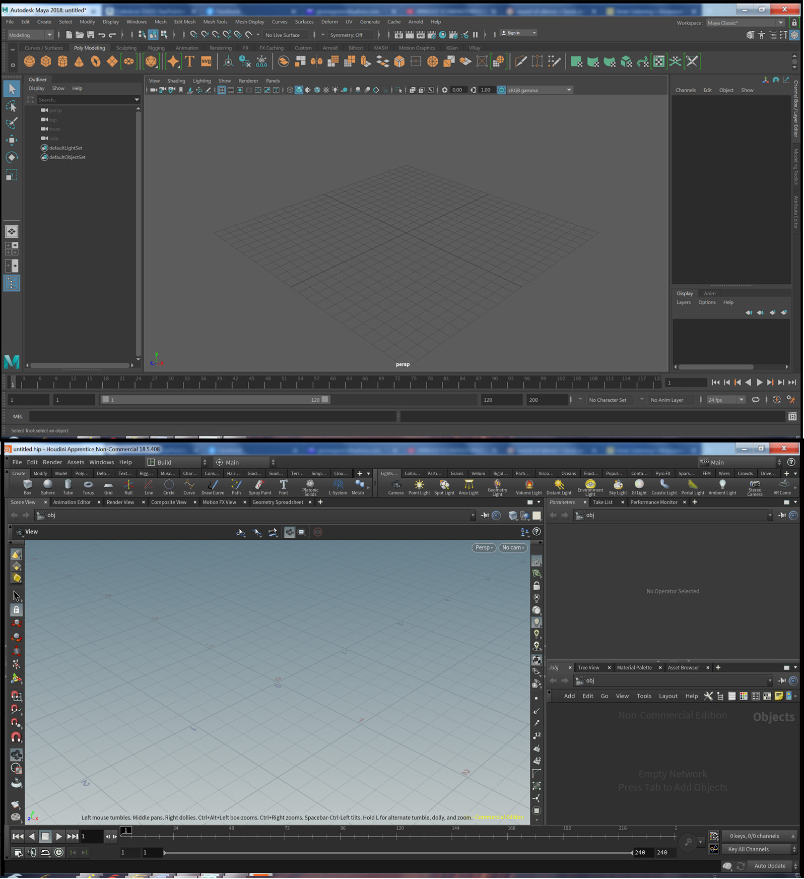 The Maya and Houdini interface compared