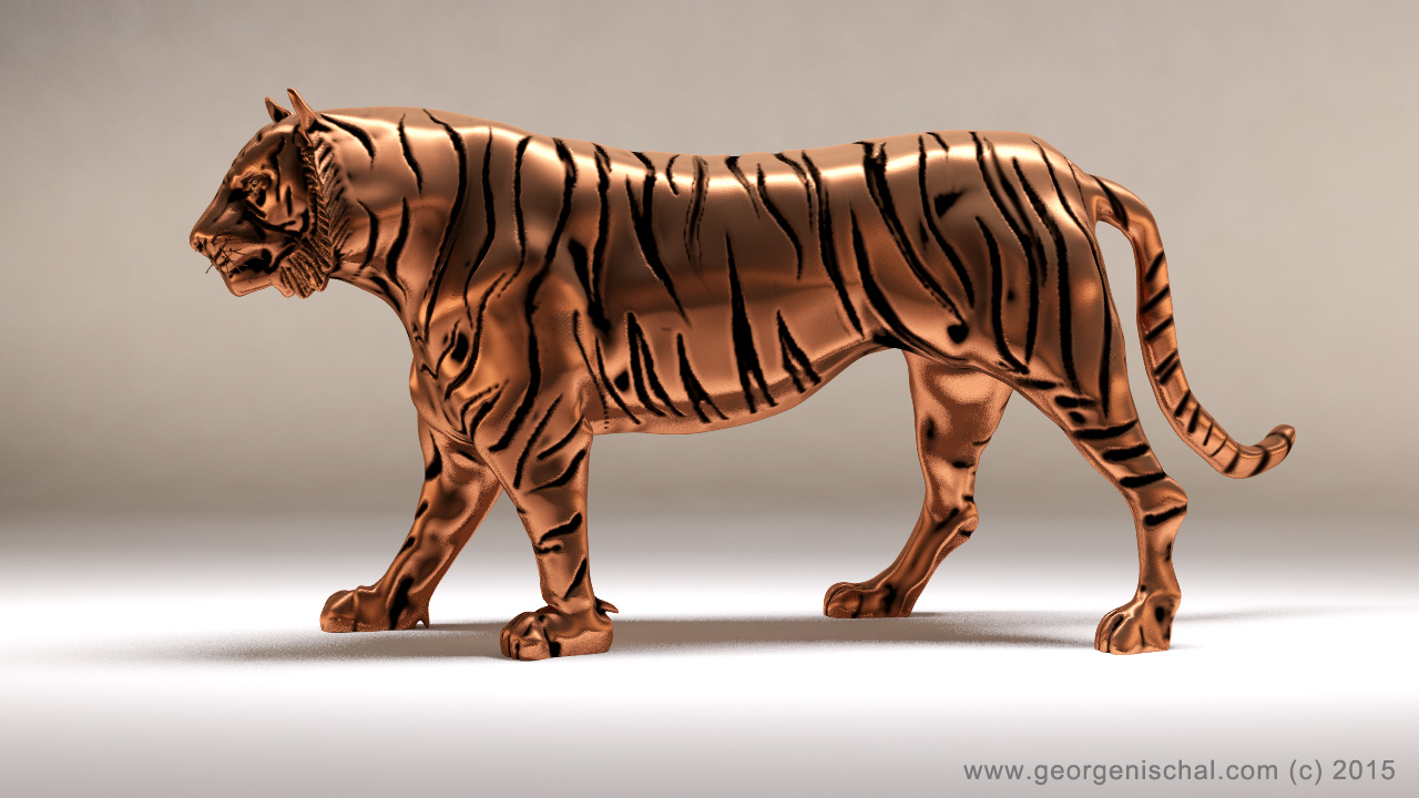 Tiger sculpture for 3D Print
