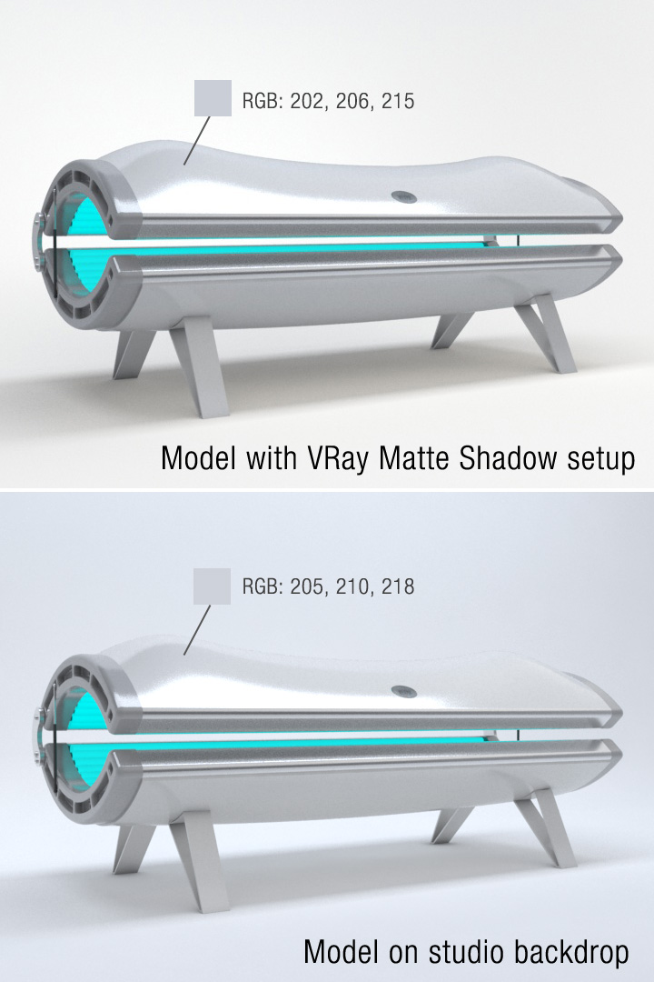 vray matte shadow product rendering